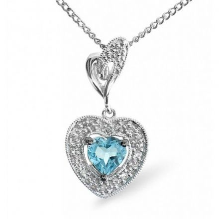 9K White Gold 0.05ct Diamond & 0.48ct Blue Topaz Pendant, E2683
